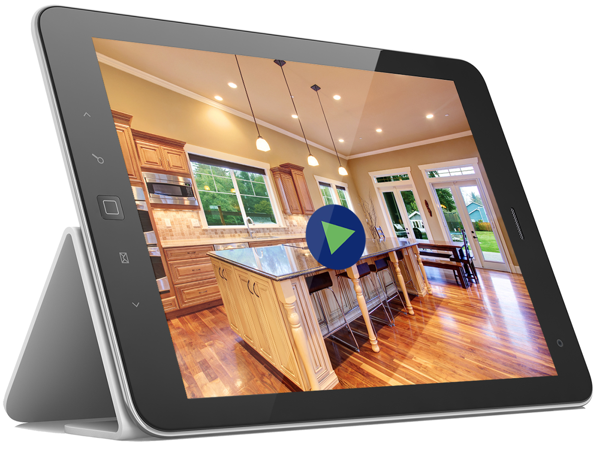 Tablet showing an online home inspection report video